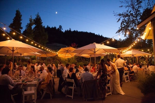 Mountain House Estate – Wine Country Wedding – California wine country weddings – Bay Area weddings - outdoor reception under market lights