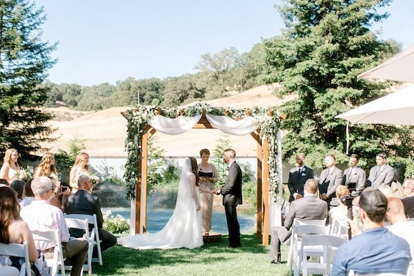 Mountain House Estate – Wine Country Wedding – California wine country weddings – Bay Area weddings - wedding ceremony by the pond