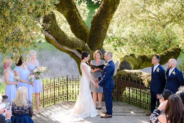 Mountain House Estate – Wine Country Wedding – California wine country weddings – Bay Area weddings - wedding ceremony under a tree