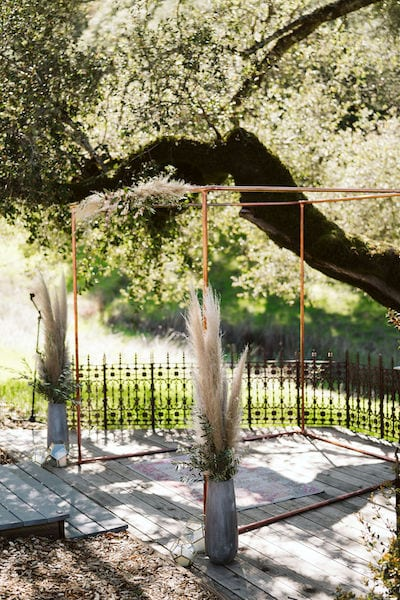 Mountain House Estate – wine country wedding – San Francisco Bay rustic wedding venue - modern metal chuppah