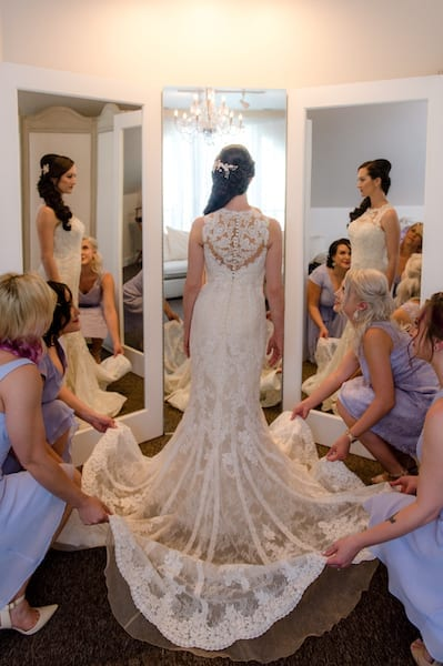 Bride in triple mirror - bride - getting ready - Mountain House Estate- Wine Country weddings