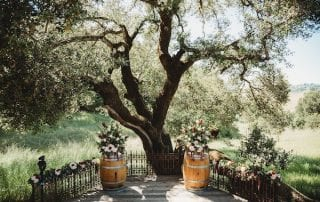 Mountain House Estate – California wine country weddings – Mendocino country wedding venue – Oak Tree Terrace - ceremony with wine barrels