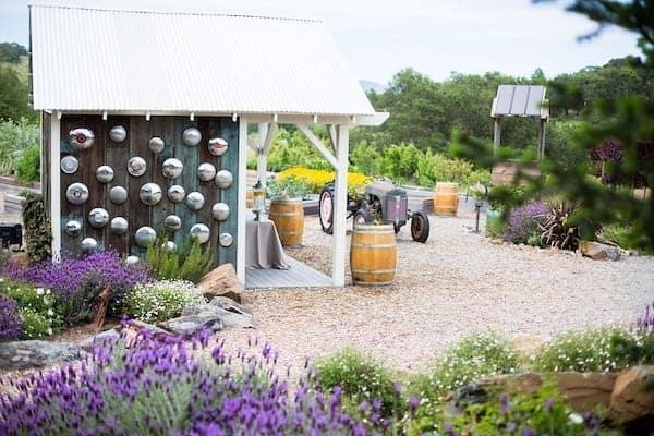 Mountain House Estate – California wine country weddings – Mendocino country wedding venue – Oak Tree Terrace garden barn for beverage service