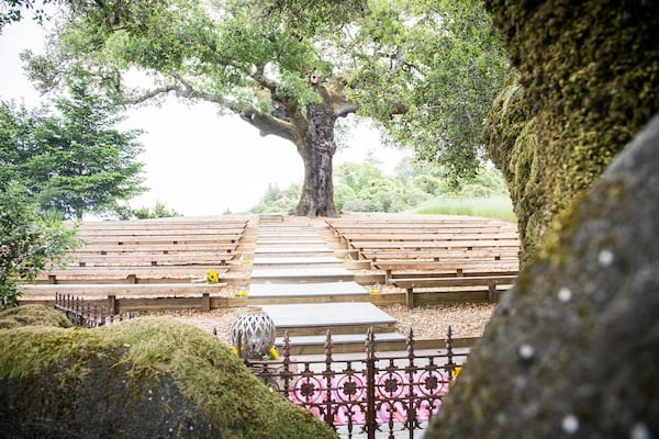 Mountain House Estate – California wine country weddings – Mendocino country wedding venue – Oak Tree Terrace - ceremony seating
