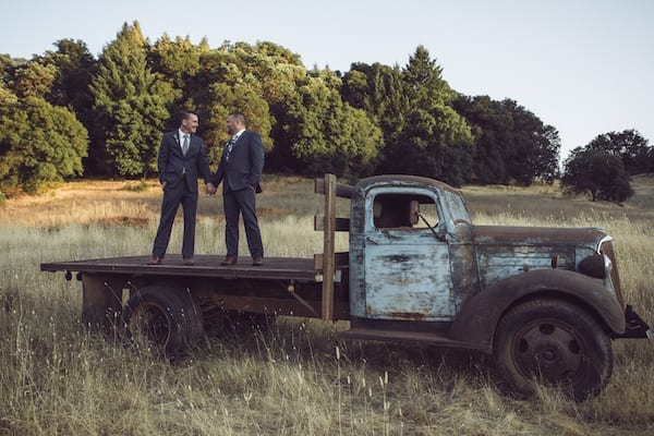 Wine Country LGBTQ weddings - Mountain House Estate weddings - Mendocino LGBTQ weddings - two grooms - two grooms in a field