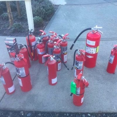 California wine country wedding venue - fire extinguishers - safety first