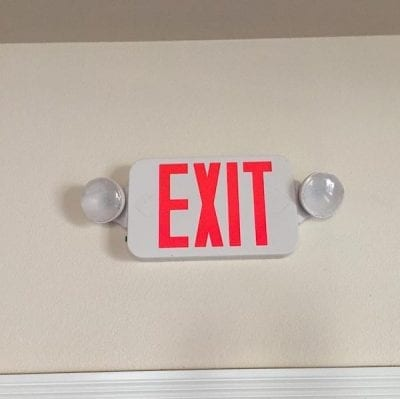 California wine country wedding venue - lighted exit signs - emergency lighting- safety first