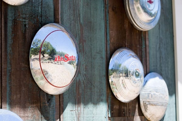 vintage hubcap collection - rustic California wedding venu - Mountain House Estate