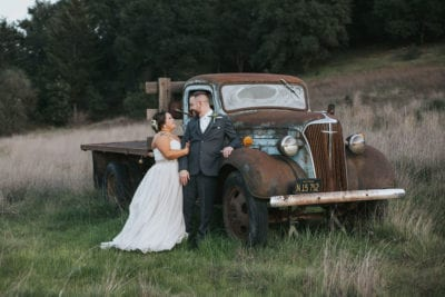 Mountain House Estate – Sonoma wine country wedding venue – rustic wine country wedding-bride and groom- bride and groom with rustic truck