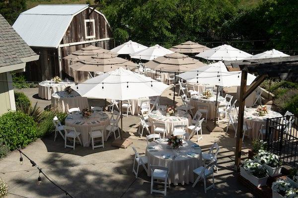Mountain House Estate – Sonoma County Wine Country Wedding- Outdoor wedding – peach and orange wedding décor – outdoor wedding reception