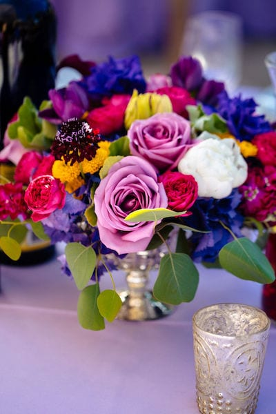 Mountain House Estate - Outdoor wedding reception - colorful centerpieces - California Wine Country Jewish wedding
