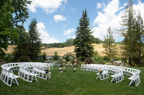 Mountain House Estate – Sonoma County Wine Country Wedding- Outdoor wedding – peach and orange wedding décor – wedding ceremony in the round - outdoor wedding ceremony