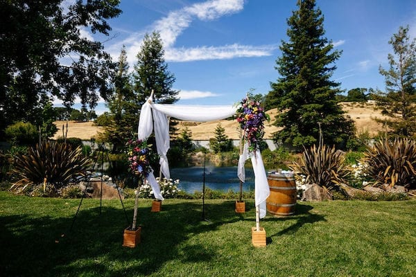 Mountain House Estate- Mountain House Estate Jewish Wedding Ceremony - Chuppah next to pond