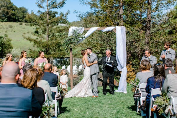 Mountain House Estate – Sonoma County wedding – San Francisco Bay Area rustic wedding venue – California wine country wedding venue – Mendocino weddings – Sonoma weddings - outdoor wedding ceremony - bride - groom - bride and groom - first kiss
