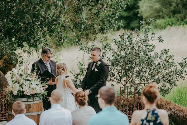 Mountain House Estate – pink and white wedding – wine country wedding- bride - groom - bride and groom - exchanging wedding vows - bride and groom exchanging wedding vows