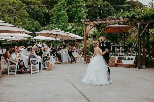 Mountain House Estate – pink and white wedding – wine country wedding- bride - groom - bride and groom - fist dance - outdoor wedding reception - California wine county rustic wedding