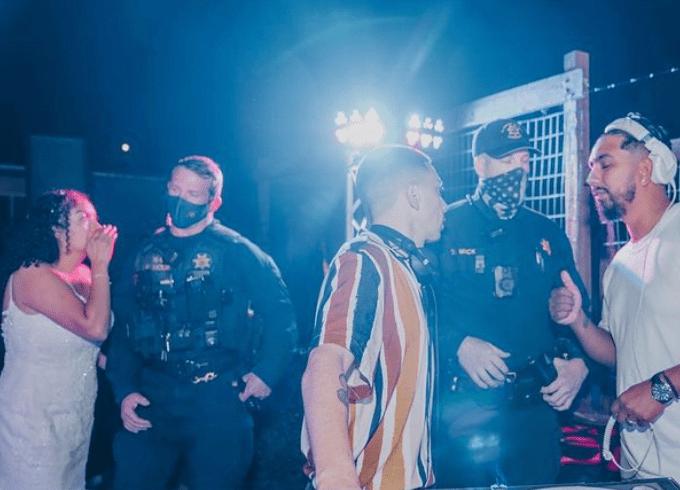 police wearing mask bride not covid californai wedding venues